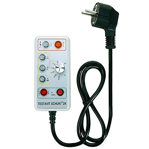 Testavit Schuki 2K Steckdosenprüfgerät mit FI-Test mit einstellbarem Nennfehlerstrom, Elektriker Werkzeug (LED Anzeige, 230 V, sichere Überprüfung), Grau