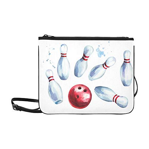 WYYWCY Rote Bowlingkugel mit Flammenmuster Benutzerdefinierte hochwertige Nylon-dünne Clutch-Tasche Umhängetasche mit Umhängetasche