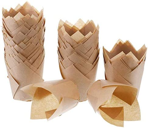 200pcs Tulip Cupcake Liners Baking Paper Cups Holders Greaseproof Muffin Cases Wrappers for product image