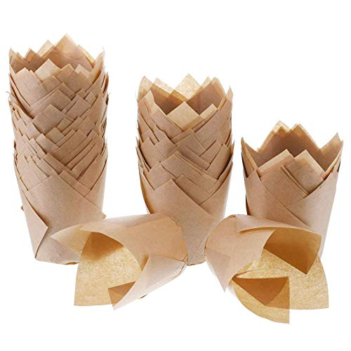 200pcs Tulip Cupcake Liners Baking Paper Cups Holders Greaseproof Muffin Cases Wrappers for Wedding Birthday Party Baby Shower, Standard Size (Natural)