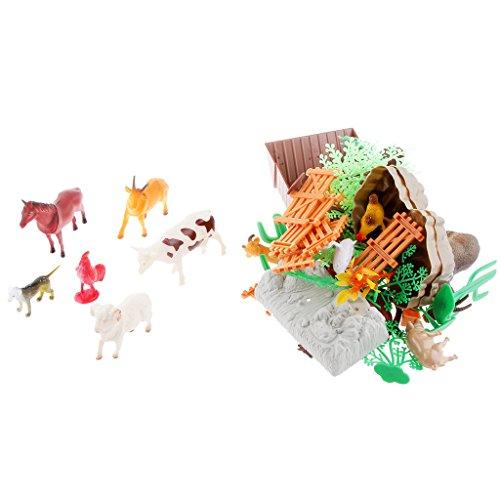 Gazechimp Set 75pcs Mini Modèles Animaux Ferme Figurines Plastique Jouet Cadeau Enfant