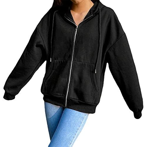 MINGYUE para Mujer Abrigo con Capucha Sudadera Mujer Capucha y Bolsillos Cremallera Y2K Chaqueta de chándal Vintage Moda Superior la Vendimia Primavera otoño 90S Gran tamaño (XXL,F)