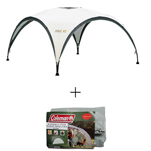 Coleman Gazebo Event Shelter L Including Side Panel, Garden and Camping, Sturdy Steel Poles Construction, Large Event Tent, Portable Sun Shelter with Sun Protection SPF 50+