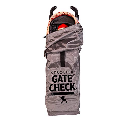 J.L. Childress DELUXE Gate Check Bag for Umbrella Strollers - Premium Heavy-Duty Durable Air Travel Bag, Adjustable Shoulder Strap - Fits Compact, Umbrella-Style Strollers, Grey