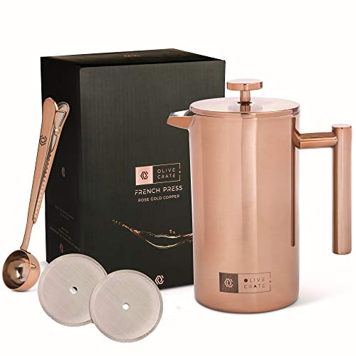 OLIVE + CRATE Copper Stainless Steel French Press Coffee Maker Kit, Measuring Spoon and Clip - Large Portable Coffee Maker - Insulated French Press, Great for Travel and Outdoors, 34oz