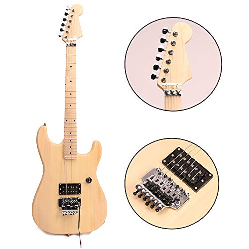 ZUWEI DIY Electric Guitar Kits BSCRUN - Basswood Body, Humbuckers Pickups, Maple Neck, Floydrose Bridge, Chrome Hardware 22F with 3.4 Feet Cable Nature Light