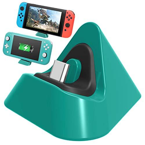 FASTSNAIL Chargeur Dock Compatible avec Nintendo Switch, Mini Station de Charge Compatible avec Nintendo Switch Lite Portable Station de Charge Support Triangle (Vert)