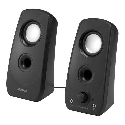 BUFFALO 2.0ch マルチメディアスピーカー USB電源/ステレオミニプラグ音源 ブラック BSSP28UBK