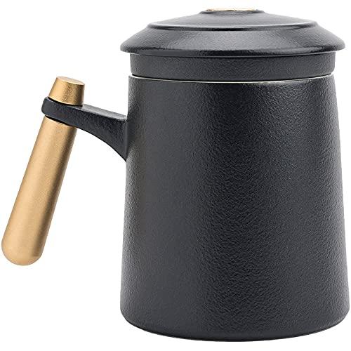 ZHANGXJ Taza de Café de Cerámica con Estilo Japonés Taza de Agua para el Hogar y la Oficina Taza de te con Filtro Inoxidable para Aniversario Regalos Regalo (Color : Matte Black)