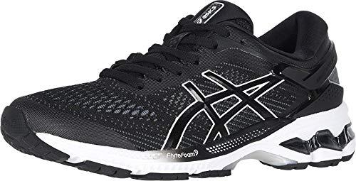 ASICS Women's Gel-Kayano 26 (D) Running Shoes, 9.5W, Black/White