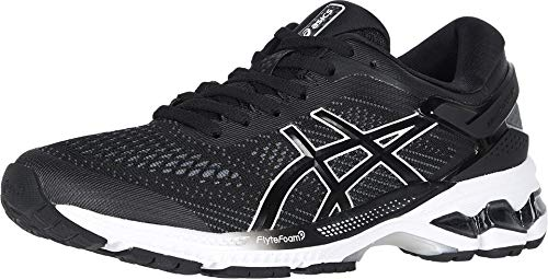 ASICS Women's Gel-Kayano 26 Running Shoes, 6.5M, Black/White