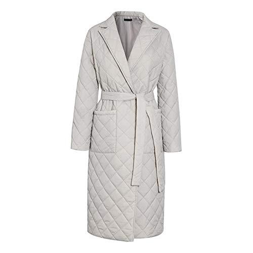 #N/A/a Abrigo largo de invierno con patrón de rombos fajas casuales Parkas mujeres bolsillos profundos a medida cuello elegante prendas de vestir - M gris