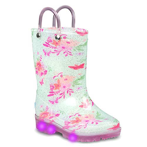 Product Image of the ZOOGS Light Up Kids Toddler Rain Boots for Girls and Boys with Handles, Blue...