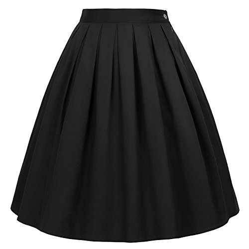 Vintage Pleated A-line Midi Skirts Black Size 2XL CL6294-28