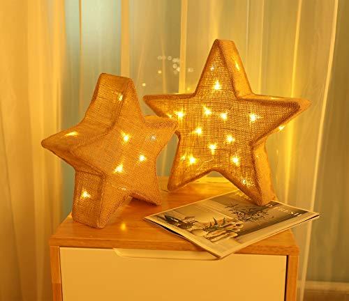 Luxspire Sterne Leuchte, 2 Stück Led Deko Weihnachtsstern Leucht 3D Sterne Laterne Advent Lampe Batteriebetrieb Licht mit Timerfunktion für Weihnachtsdeko Hause Innen Außen Beleuchtung - Leinen