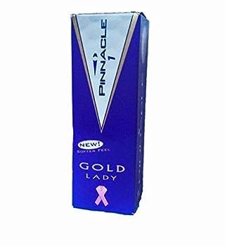 Pinnacle Gold Distance Lady Golfballs 3 Balls 1 Sleeve with Pinck Cancer Ribbon Logo by Pinnacle