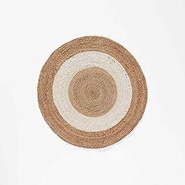 Douceur d'Intérieur tapis deco rond (0) 90 cm jute bicolore salem blanc