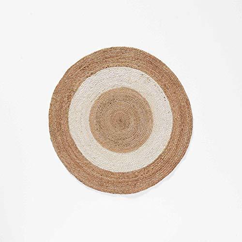 Douceur d'Intérieur - Alfombra Decorativa Redonda (90 cm, Yute, Bicolor, Salem, Color Blanco