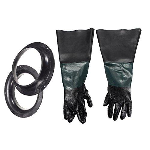 D dolity 600mm PVC Guantes Foco de arena para trabajo mecánico Arena Haz cabina de chorro de arena con soporte, 1par