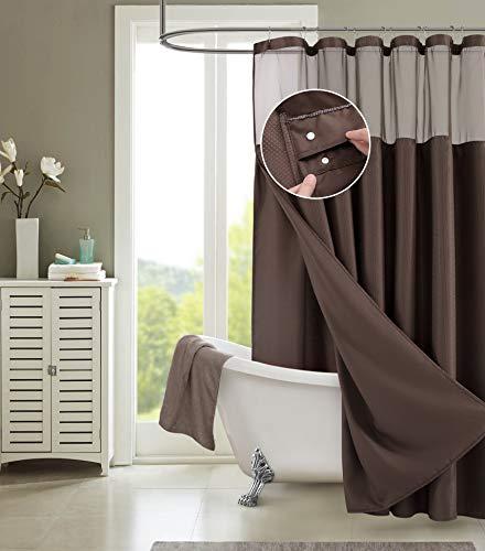 Dainty Home Smart Design 2-in-1 Duschvorhang, Waffelgewebe, wasserdicht, abnehmbar, 182,9 cm breit x 182,9 cm lang, Schokoladenbraun