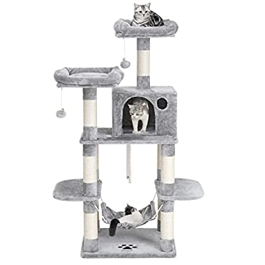 SONGMICS Cat Tree Condo with Scratching Posts Kitty Tower Furniture Pet Play House Bed Light Grey 59  UPCT85W