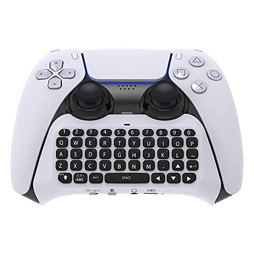 FYOUNG Teclado controlador para PS5, teclado inalámbrico Bluetooth Chatpad Mini recargable controlador de mano Grip teclado para Playstation 5 controlador