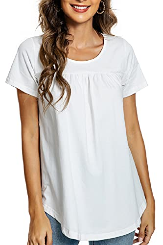 Voqeen Blusa de Mujer Camiseta de Manga Corta Algodón Blusa Elegante Camisa Suelta Mujer Casual Verano Shirts
