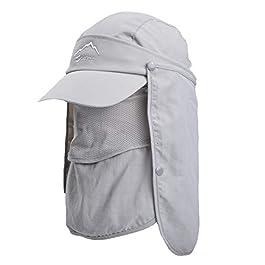 TAGVO Chapeau de Soleil avec Cou Couverture Faciale, UPF 50+ Chapeaux de Pêche Respirants, Pliable Séchage Rapide…