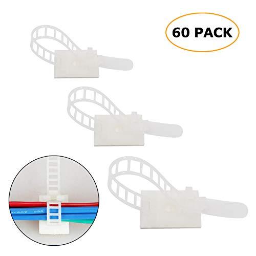 60 Piezas ajustable Cable Tie Bracket abrazadera de cable clip de alambre...
