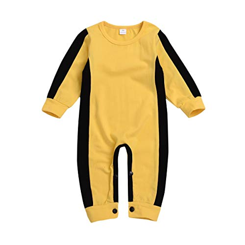 Boys Classic Jumpsuit,Dacawin Toddler Infant Baby Classic Yellow Bruce Lee Romper Clothes (Yellow, 3-6 Months)