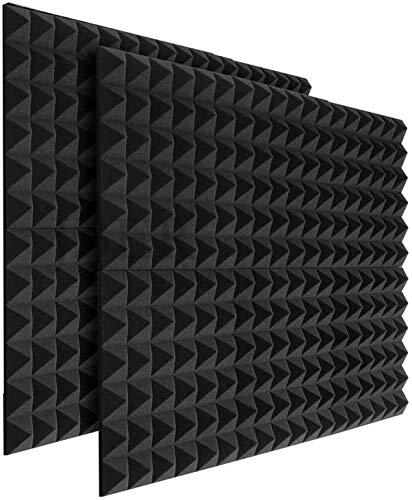 24 x Platten Akustikschaumstoff Noppenschaumstoff Akustik Schaumstoff Akustische Schalldämmplatten zur effektiven Akustik Dämmung für Studio Hause ca. 25x25x5cm (Schwarz 2)