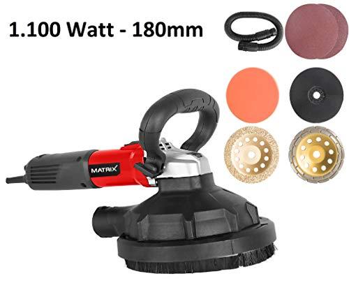 Matrix MT 1100 130200370 Betonschleifer, Fliesenschleifer, Sanierungsfräse, Multischleifer, mit Absaugung, inkl. Scheiben, 180mm Durchmesser, 1.100 Watt, W, 230 V, rot, schwarz
