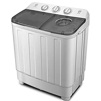 Mallez Portable Twin Tub Washing Machine 7.5 KG Total Capacity Washer and Spin Dryer, 4.5 KG Washer 3 KG Drying (Shipped from UK)