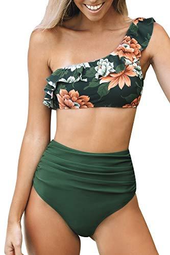 CUPSHE Damen Bikini Set Rüschen One Shoulder Bikini High Waist Bauchweg Bademode Zweiteiliger Badeanzug Grün M