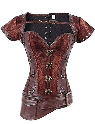 FeelinGirl Damen Korsett mit Stahlstäbchen - Brokatmuster - Retro/Gothic/Steampunk-Stahl ohne Knochen, Pink, XXL(EU 42)