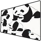 Alfombrilla de ratón (800x400x3 mm) Zoológico, Dibujo de Pandas bebé Botella de Leche Mosca Lindas Figuras adorables de Animales mamí Superficie Suave y cómoda de la Alfombrilla de ratón para Juegos