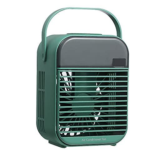 Refrigerador de aire 3 en 1 Aire acondicionado Ventilador, ventiladores de la torre silencioso, ventilador de escritorio USB Recargable y pantalla digital, Buit-in 2000mah Batería,Green- battery