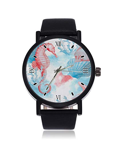 Watercolor Seepferdchen Fashion Damen Armbanduhr Quarz Edelstahl Lederband Casual Watch
