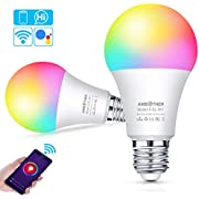 AMBOTHER Smart WiFi Lampen E27 LED Smart Wlan Glühbirnen RGB+CW+WW Dimmbar Timing Fernbedienung via APP & Sprachsteuerung Kompatibel mit Amazon Alexa Google Home LED Smart Home Licht 9W 800LM 2er Pack