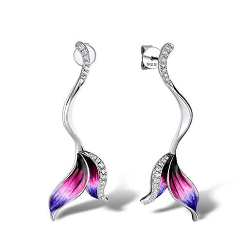 MXHJD Pendiente de botón de cola florida para mujer, forma delicada, piedra de circonita cúbica brillante, pendiente de moda para mujer, joyería de fiesta