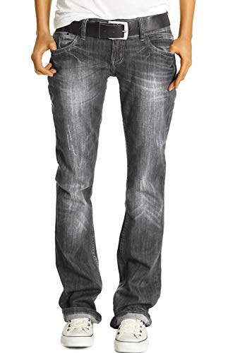 bestyledberlin Damen Jeans Hosen, Baggyjeans Relaxed Fit, Straight Leg Style Jeans j137p 40/L grau