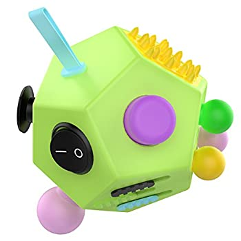 ATiC 12 Sided Fidget Cube Fidget Twiddle Cube Dodecagon Stress Relief Hand Toy Decompression for ADD ADHD Autism Kids and Adults Green/Colorful