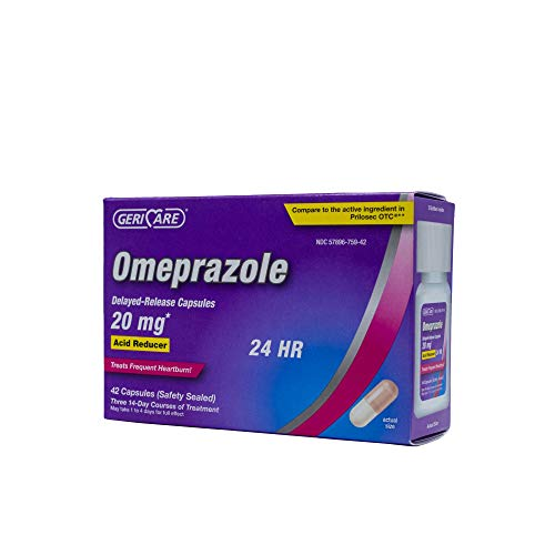 GeriCare Omeprazole Delayed Release Capsules 20 mg | Acid Reducer | Treats Heartburn (42 Count)