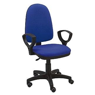 La Silla de Claudia – Silla giratoria Torino azul ergonómica reposabrazos y asiento ajustable con ruedas de parquet y contacto permanente