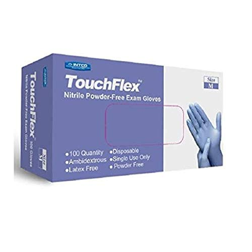 TouchFlex Nitrile Exam Gloves, Chemo-Rated, 4.5 Mil, Powder Free and Latex Free, Violet, Medium, 100/Box