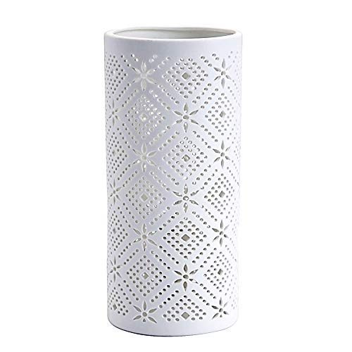 LUSSIOL Lampe de chevet Snow, lampe décorative porcelaine, 40 W, blanc, ø 11 x H 24 cm
