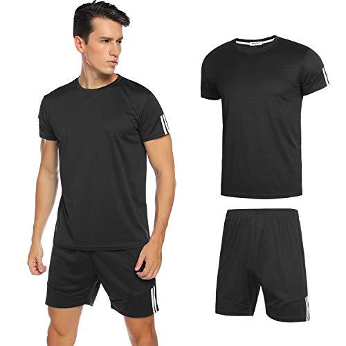 Hawiton Conjunto de Chándales para Hombre Chandal Hombre Verano Ropa Deportiva Gym Camisa Mangas Cortas Pantalon Cortos Correr Trotar Caminar