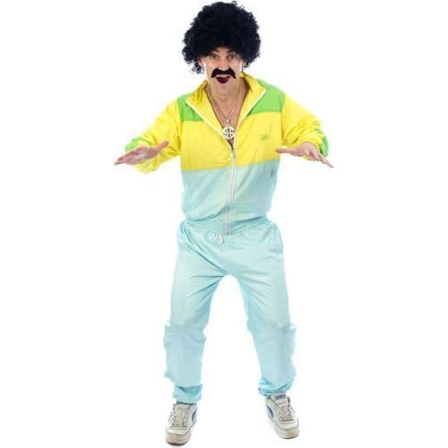Adult Men's Funny, 80's Scouser, Chav Shell Suit Fancy Dress Costume. One Size Costume But Usually Fits Mens Small, Medium, Large and XL. Perfect For A Stag Do.