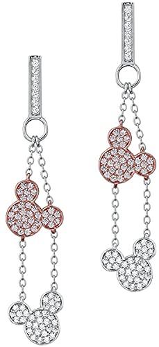 Micky & Minnie Disney by Couture Kingdom - Drop Mujer Pendientes Plateado, En Plata de Primera Ley,