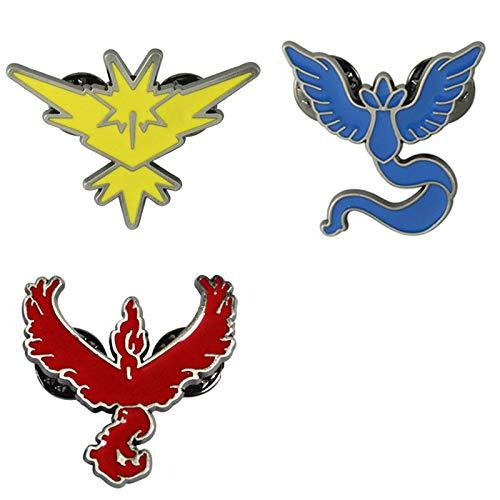 FENGHE Pokemon 3 Unids / Lote Pokemon Go Broche Esmalte Pin Accesorios De Cosplay Equipo De Aleación Equipo Místico Valor Equipo Instinto Insignia Regalos Unisex